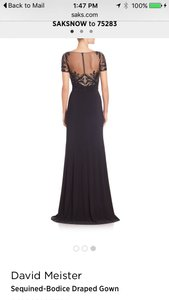David Meister Black Sequined Bodice Draped Gown Dress