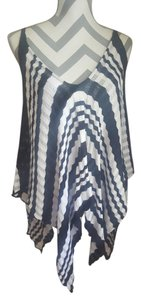 Arden B. Striped Overthrow Coverup Black And White Cape