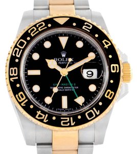 Rolex Rolex GMT Master II 18k Gold Steel Black Dial Mens Watch 116713