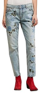 Free People Medium Wash Embroidered Slim Straight Leg Jeans-Light Wash