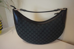 Gucci Monogram Canvas Leather Trim Hobo Bag