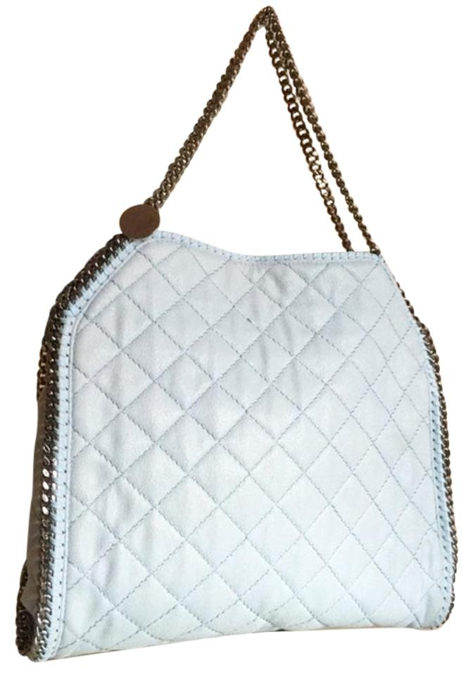 0e74b841f229 Stella McCartney Quilted Falabella Ice Blue Crackled Shaggy Deer Faux  Leather Tote