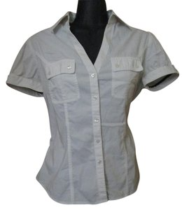 Express Career Work Job Formal Stretchy Button Down Shirt White