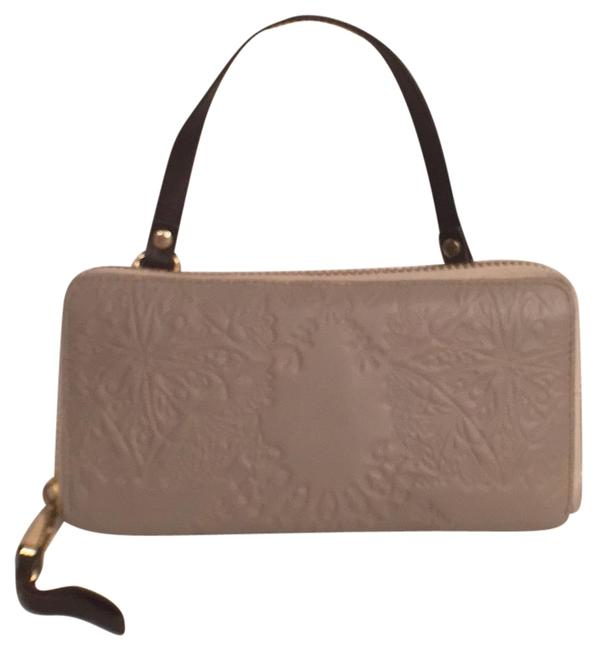 Item - Embossed Wristlet Wallet Gray Brown Leather Clutch