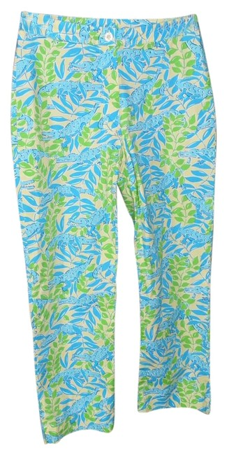 Lilly Pulitzer Turquoise Mimosa The Everglades Capris Size 0 (XS, 25) Lilly Pulitzer Turquoise Mimosa The Everglades Capris Size 0 (XS, 25) Image 1