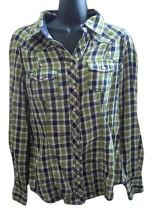 Old Navy Plaid Career Formal Job Work Button Down Shirt Multicolored