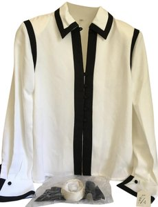 Chanel Fragrance Uniform Top White Black Trim