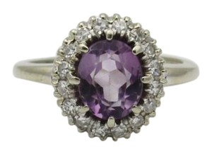 Other Amethyst Halo Diamond Ring, 14k Gold Halo Engagement Ring, 1/2 cttw