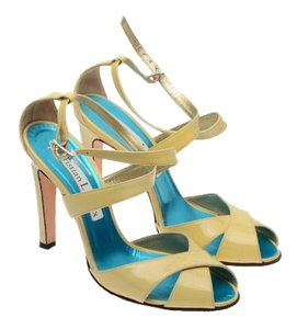 Christian Lacroix Patent Leather Open Toe Beige Sandals
