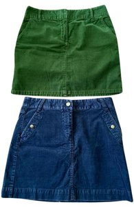 J.Crew Cordoury Mini Fall Mini Skirt Blue and green
