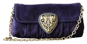 Gucci Hysteria Suede Dark Purple Clutch