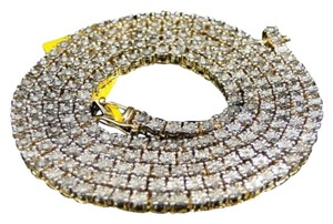 Mens,Yellow,Gold,Finish,Genuine,Diamond,1,Row,Necklace,Chain,30,Inch,4,Mm
