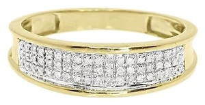 Other 10k,Yellow,Gold,Mens,6mm,Pave,Round,Diamond,Wedding,Fashion,Band,Ring,0.25,Ct