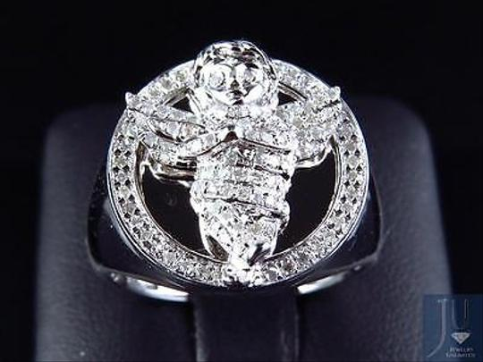 Other Genuine Diamond 3d Angel Fashion Pinky Ring In White Gold Finish 0.60ct 22mm Image 6