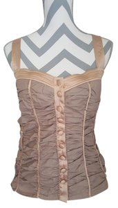 bebe Button Brown Zipper Top Taupe