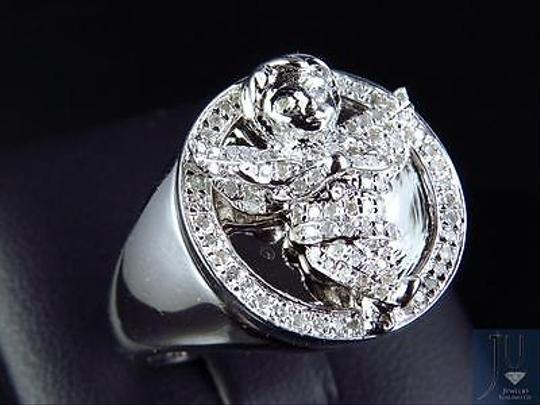 Other Mens 10k White Gold Genuine Diamond 3d Angel Fashion Pinky Ring 0.60ct 22mm