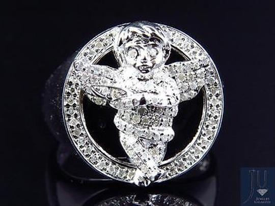 Other Mens 10k White Gold Genuine Diamond 3d Angel Fashion Pinky Ring 0.60ct 22mm Image 6