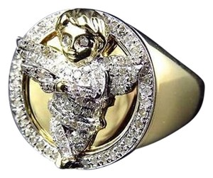 Genuine Diamond 3d Angel Fashion Pinky Ring In Yellow Gold Finish 0.60ct 22mm