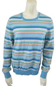 Lands' End Crew Neck Cashmere Striped Sweater