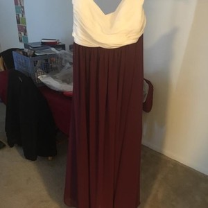 Alfred Angelo Maroon And White Dress