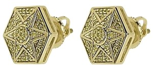 Jewelry Unlimited 10k,Yellow,Gold,Mens,Ladies,Yellow,Diamond,Hexagon,Star,Studs,Earrings,14ct