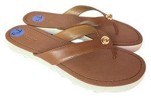 Coach Leather Gold Chic Classic Saddle Brown Sandals