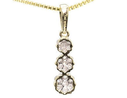Jewelry Unlimited Ladies,14k,Gold,Round,Diamond,3,Stone,Graduated,Flower,Cluster,Pendant,Charm