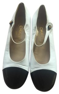 Chanel Mary Jane Vintage White Flats