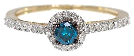 Other 10k Yellow Gold Ladies Bluewhite Diamond Halo Solitaire Fashion Engagement Ring