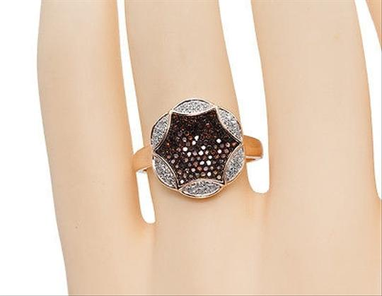 Other 10k Rose Gold Ladies Red White Diamond Designer Fashion Cocktail Ring 13 Ct