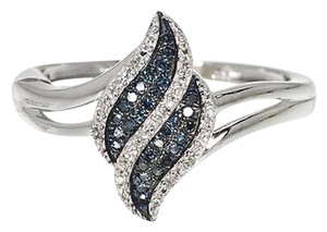 Other 10k White Gold Ladies Blue White Diamond Waterfall Fashion Cocktail Ring