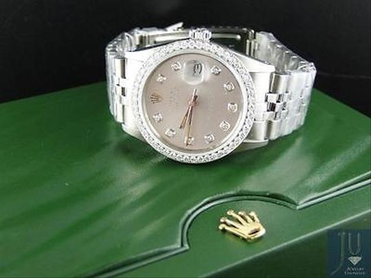 Rolex Mens Stainless Steel Rolex Datejust Oyster Watch With 2.15ct Diamond Mop Dial