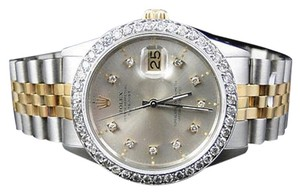 Rolex Mens Excellent Tone Rolex Datejust Oyster Diamond Watch 18ksteel Band 2.1 Ct