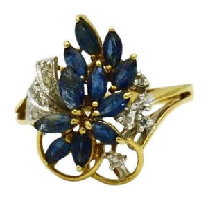 Other Antique Sapphire Diamond Ring, 14k Gold Flower Ring, Floral Ring