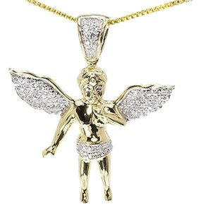 Jewelry Unlimited 10k,Yellow,Gold,Mens,Ladies,Round,Diamond,Angel,Pendant,Charm,29mm,13ct