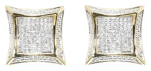Jewelry Unlimited 10k Yellow Gold Mens Ladies 14mm Round Diamond Pave 3d Kite Stud Earrings 12ct