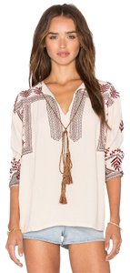 Misa Embroidery Chic Boho Top tan