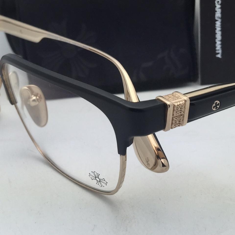 Chrome Hearts Instapound Mbk/Gp 56-17 Black & Gold Eyeglasses Mbk/Gp ...