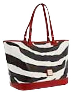 Dooney & Bourke Animal Print Tote in Cream and Black Zebra