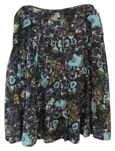 J. Jill Flirty Silk Cotton Floral Skirt Black