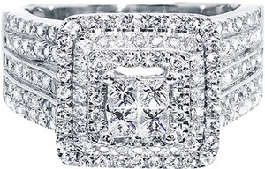 Jewelry Unlimited 14k,White,Gold,Ladies,Xl,Princess,Diamond,Bridal,Wedding,Engagement,Ring,1.52ct