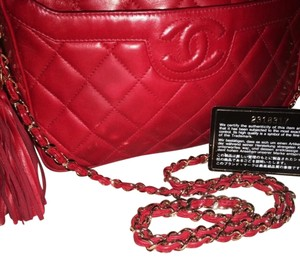 Chanel Red Leather Tote Shoulder Bag