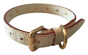 Louis Vuitton Louis Vuitton Suhali Goat White Leather Dog Collar