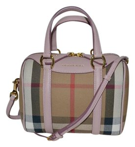 Burberry Alchester Mini Satchel in House Check and Pink Orchid