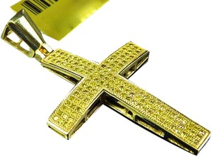 Jewelry Unlimited Pave,Genuine,Canary,Diamond,Cross,Pendant,Charm,Finished,In,Yellow,Gold,2,.75ct