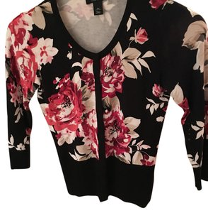 White House | Black Market Whbm Flowers Sweater Button Down Shirt Black