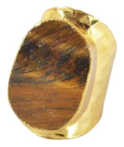 Tigers Eye Natural Stone Gold Statement Ring