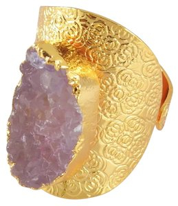 Other Pink Druzy Geode Natural Stone Statement Ring