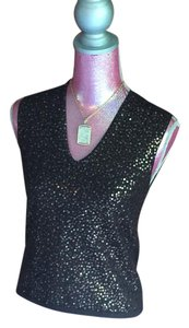 The Limited V-neck Sequins Vintage Top Brown