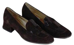 Corsina Genuine Suede Classic Style Block Heels Suede/sparkle Vamps Chocolate Brown Flats